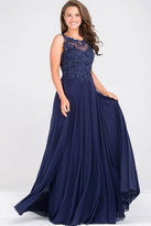 Jovani Sheer Neckline Beaded Bodice Chiffon Dress JVN47950