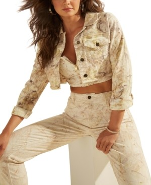 GUESS Talia Cropped Marble-Print Denim Jacket