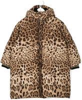 Dolce & Gabbana leopard print long padded jacket
