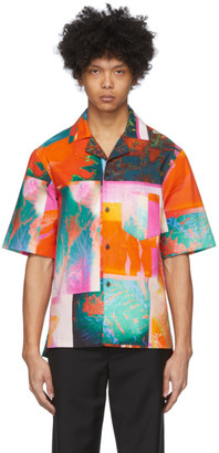 Acne Studios Pink and Orange Botanical Print Short Sleeve Shirt
