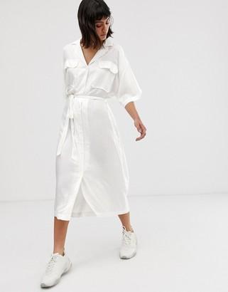 Weekday pocket detail midaxi dress in white