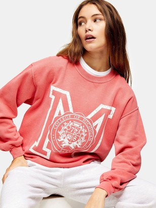 Topshop Michigan Sweatshirt - Red