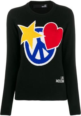Love Moschino intarsia knit crewneck sweater