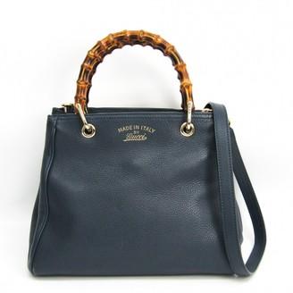 Gucci Bamboo Navy Leather Handbags