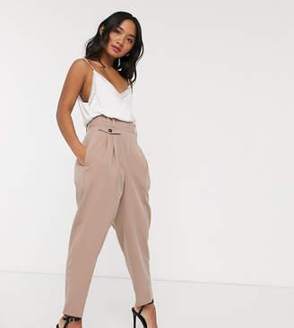 Asos DESIGN Petite tailored high waist balloon trouser-Pink