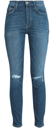 Current/Elliott Joey Dark Destroy Distressed High-rise Skinny Jeans