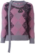 Marc Jacobs embellished argyle jumper - women - Polyester/Cashmere/Wool/glass - XS