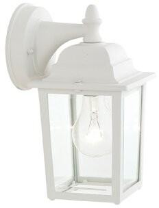 "Three Posts Shelburn 1 - Bulb Outdoor Wall Lantern Fixture Finish: White, Size: 10"" H x 5.5"" W x 6.5"" D"