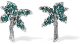 Marc Jacobs Palm Tree Silver-tone Swarovski Crystal Earrings - Green