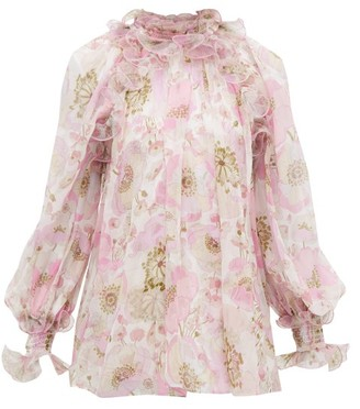 Zimmermann Super Eight Ruffled Floral-print Silk Blouse - Pink Print