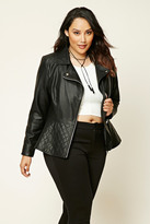 Forever 21 FOREVER 21+ Plus Size Quilted Moto Jacket