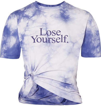 Paco Rabanne Lose Yourself Cropped Printed Tie-dyed Cotton-jersey T-shirt - Purple