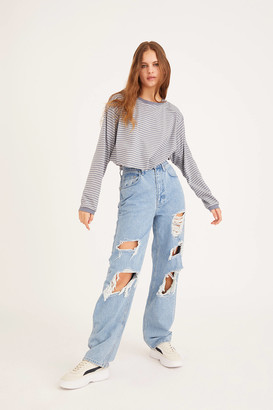 BDG High-Waisted Baggy Jean Destroyed Light Wash