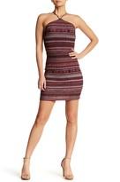 Lush Halter Neck Striped Dress
