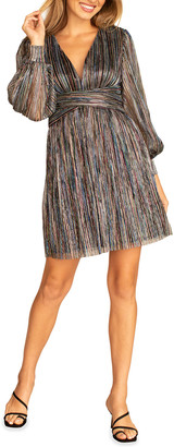 Trina Turk Cherry Blossom Multicolor Striped Bishop-Sleeve Dress