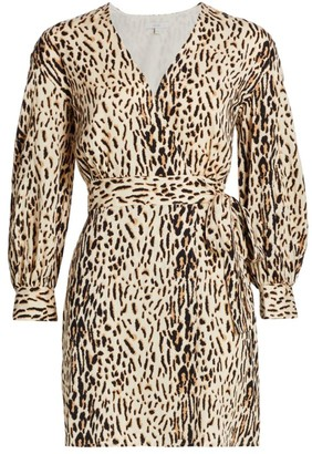 Joie Jadie Leopard Wrap Mini Dress