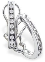 SuperJeweler 10K White Gold Omega Back Diamond Hoop Earrings (1/4 cttw) [Jewelry]