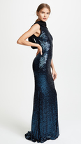 Badgley Mischka Sequin Cowl Loop Back Gown