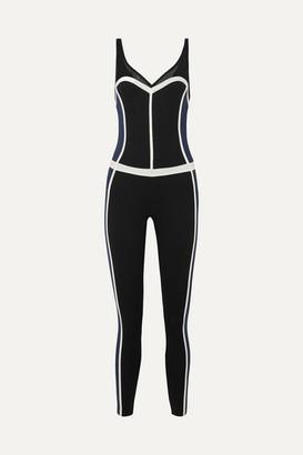 Ernest Leoty - Corset Mesh-trimmed Paneled Stretch Bodysuit - Navy