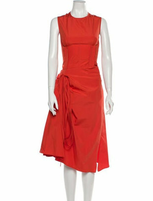Marni Crew Neck Midi Length Dress Orange