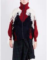 Sacai Turtleneck tassel-detail wool-blend cardigan