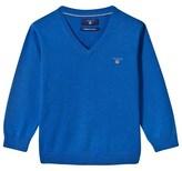 Gant Blue Cotton V-Neck Jumper