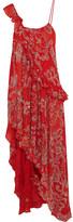 Ashish Asymmetric Embellished Silk-georgette Dress - Red