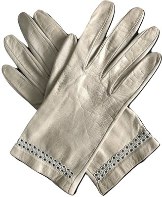 Christian Dior Ecru Leather Gloves