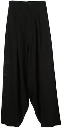 Yohji Yamamoto x New Era drop-crotch printed trousers