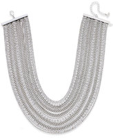 ABS by Allen Schwartz Silver-Tone Crystal and Chain Collar Necklace