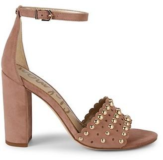 Sam Edelman Yaria Studded Suede Block-Heel Sandals