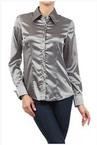 Iron Puppy Womens L/Sleeve Satin Blouse Button Down Shirts with Cuffs