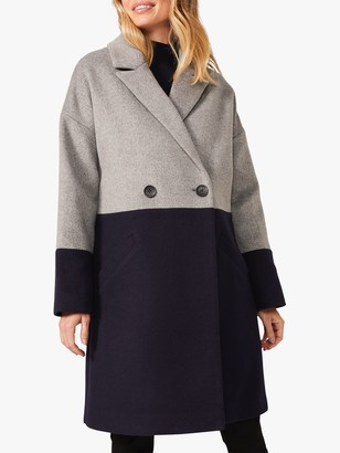 Phase Eight Emery Colour Block Wool Blend Coat, Navy/Grey