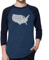 LOS ANGELES POP ART Los Angeles Pop Art Men's Raglan Baseball Word Art T-shirt - THE STAR SPANGLED BANNER
