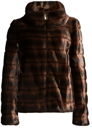 Donna Karan Stand Collar Faux Fur Coat