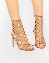 Aldo Goude Cognac Ghillie Tie Up Heeled Sandals