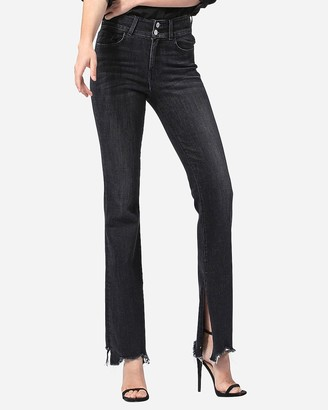 Express Flying Monkey Black High Waisted Raw Hem Flare Jeans