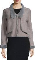 Halston Long-Sleeve Shearling Short Jacket, Charcoal