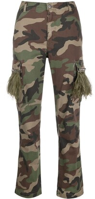 P.A.R.O.S.H. Camouflage Print Slim-Fit Trousers