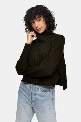 Topshop Womens Khaki Ribbed Cropped Knitted Jumper - Khaki