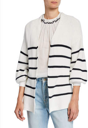 Frame Striped Bishop-Sleeve Chunky Wrap Sweater