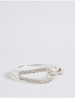M&S Collection Sterling Silver Interlocking Pave Ring