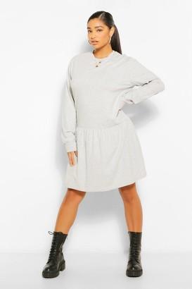 boohoo Plus Drop Hem Jersey Smock Dress