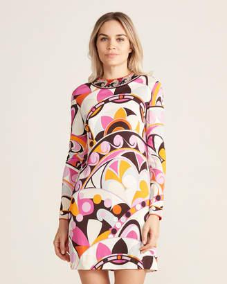 Emilio Pucci Jewel Neck Knit Jersey Long Sleeve Dress
