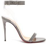 Christian Louboutin Jonatina 100 Striped Pvc & Leather Sandals - Womens - Black Stripe