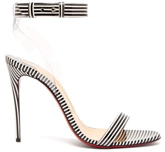 Christian Louboutin Jonatina 100 Striped Pvc & Leather Sandals - Black Stripe