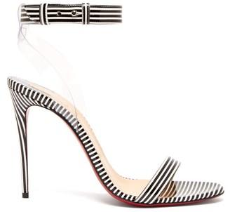 Christian Louboutin Jonatina 100 Striped Pvc & Leather Sandals - Black Stripe