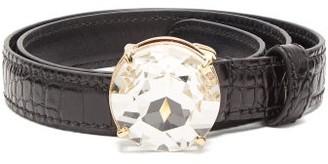 Miu Miu Crystal-buckle Patent Leather Belt - Womens - Black