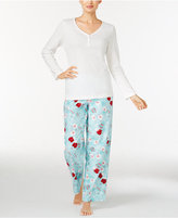 Charter Club Henley Top and Printed Flannel Pants Pajama Set, Created for Macy's