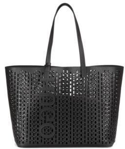HUGO Italian-leather shopper bag with laser-cut logo pattern